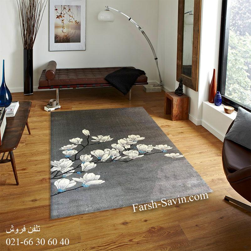 فرش ساوین 4037 نقره ای روشن فرش اصیل