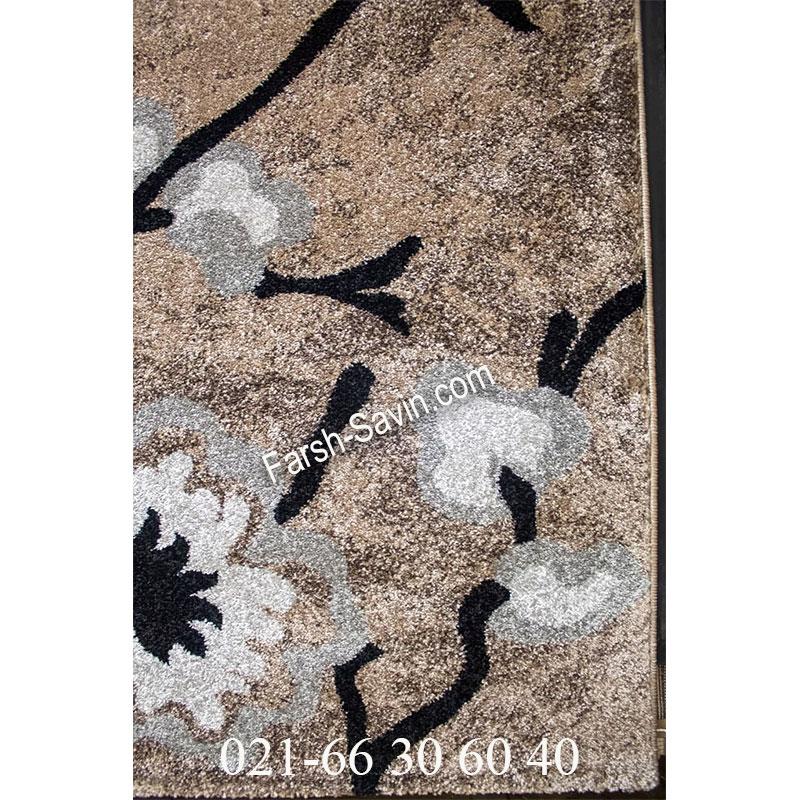 فرش ساوین 4038 شکلاتی فرش پرفروش