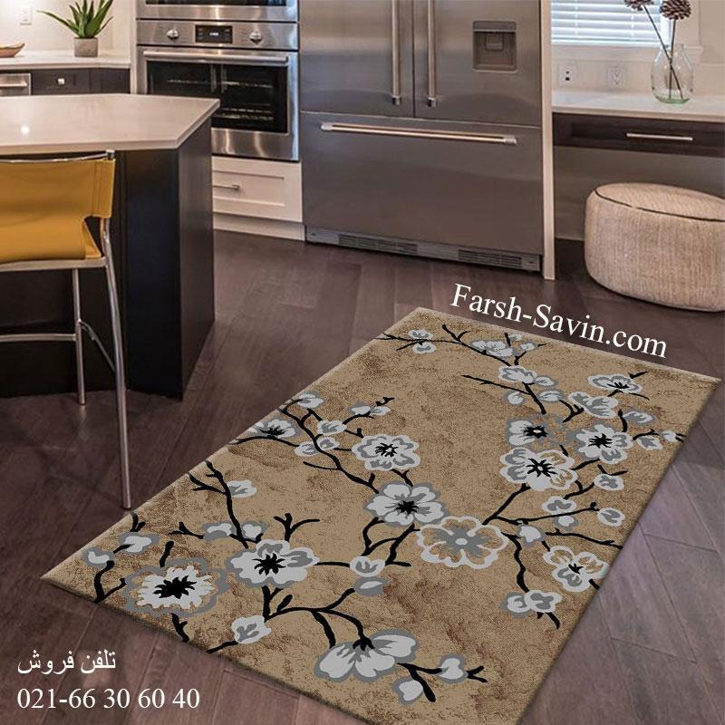 فرش ساوین 4038 شکلاتی فرش پذیرایی
