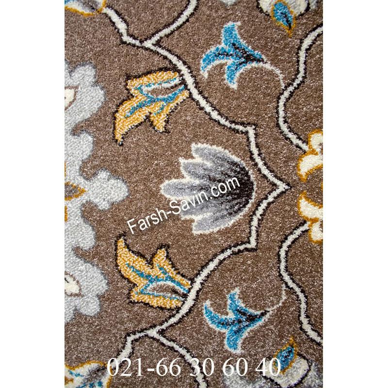 فرش ساوین 4041 شکلاتی فرش زیبا