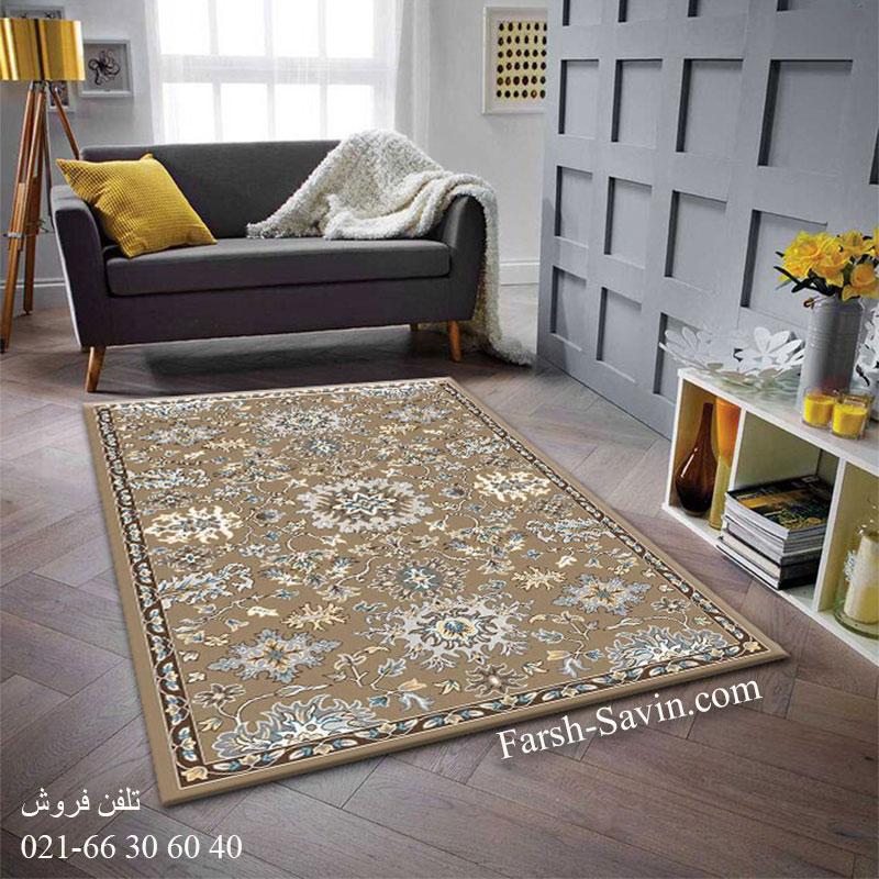 فرش ساوین 4041 شکلاتی فرش پذیرایی