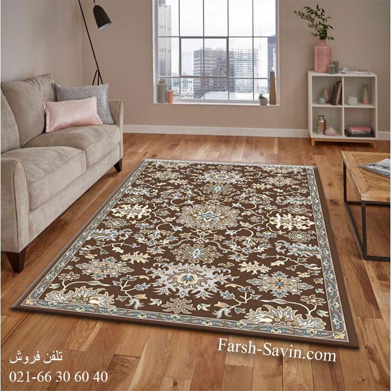 فرش ساوین 4041 نسکافه ای فرش با دوام
