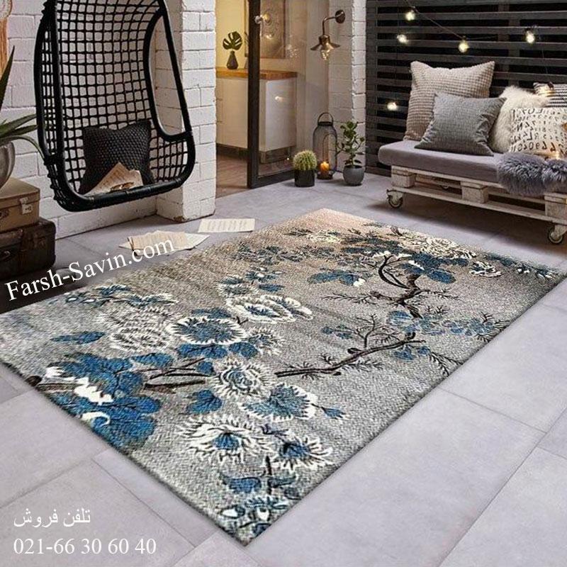 فرش ساوین 4042 نقره ای فرش پرفروش