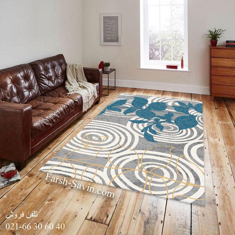 فرش ساوین 4050 نقره ای فرش پرفروش