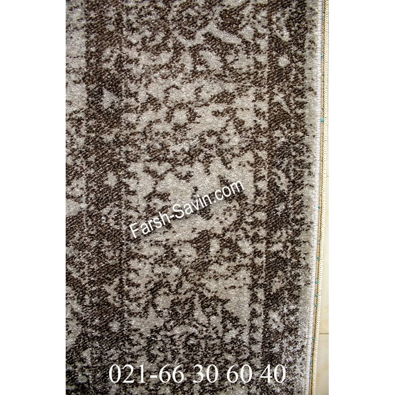 فرش ساوین 4062 نقره ای مشکی فرش مدرن
