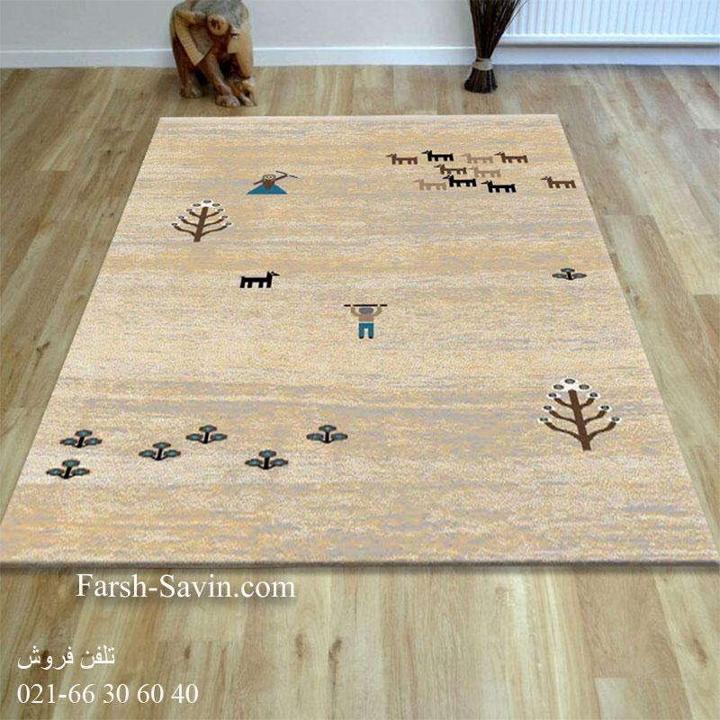 فرش ساوین 4065 کرم فرش ازان