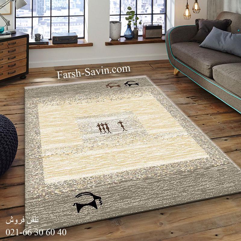 فرش ساوین 4066 شکلاتی فرش قشقایی