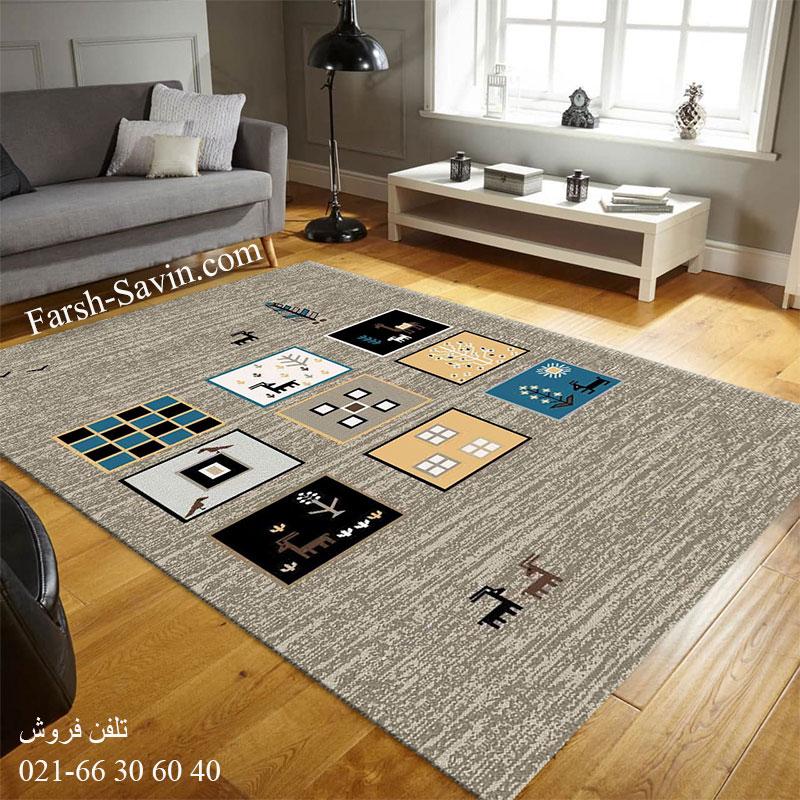 فرش ساوین 4067 شکلاتی فرش پرفروش