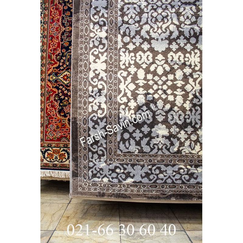 فرش ساوین 4068 شکلاتی فرش سنتی
