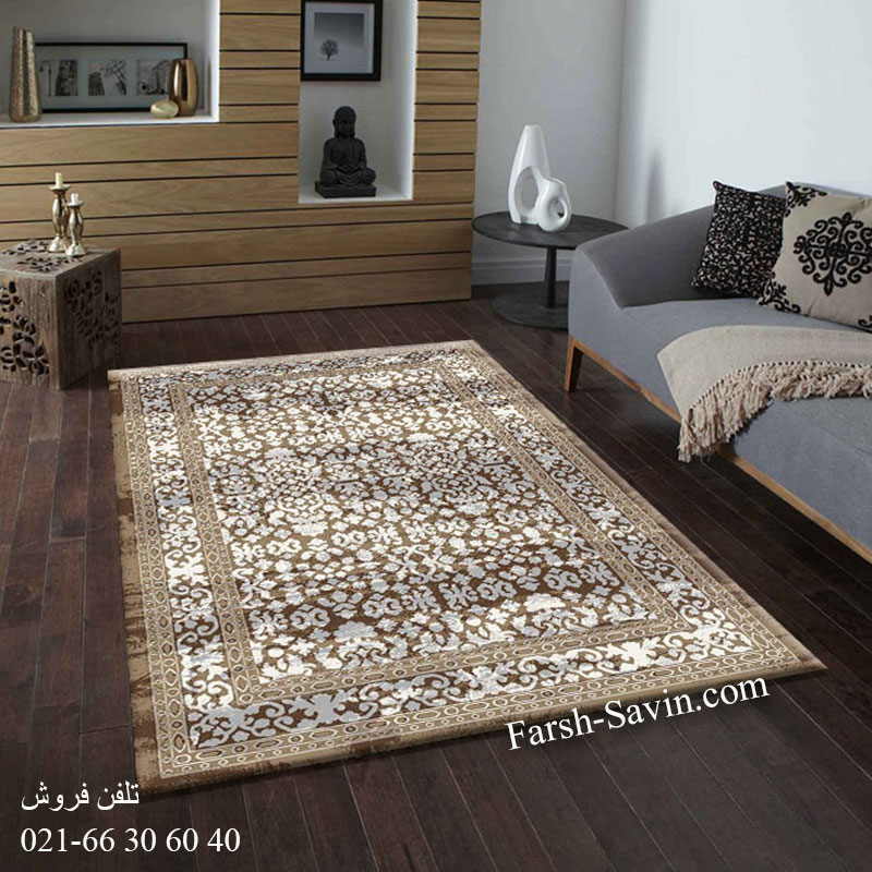 فرش ساوین 4068 شکلاتی فرش پرفروش
