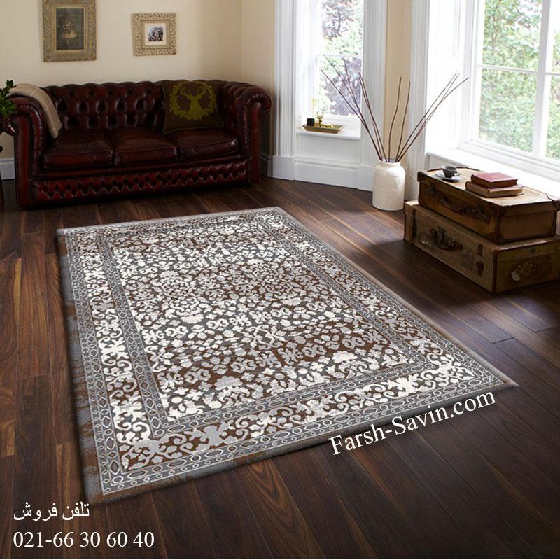 فرش ساوین 4068 طوسی فرش خاص