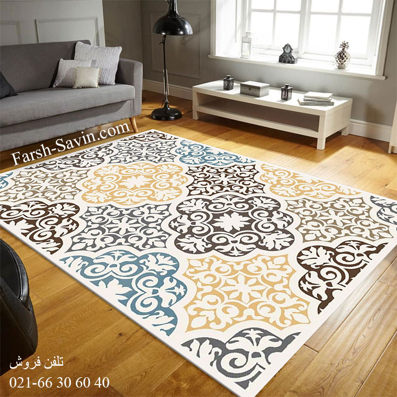 فرش ساوین 4073 کرم فرش سنتی