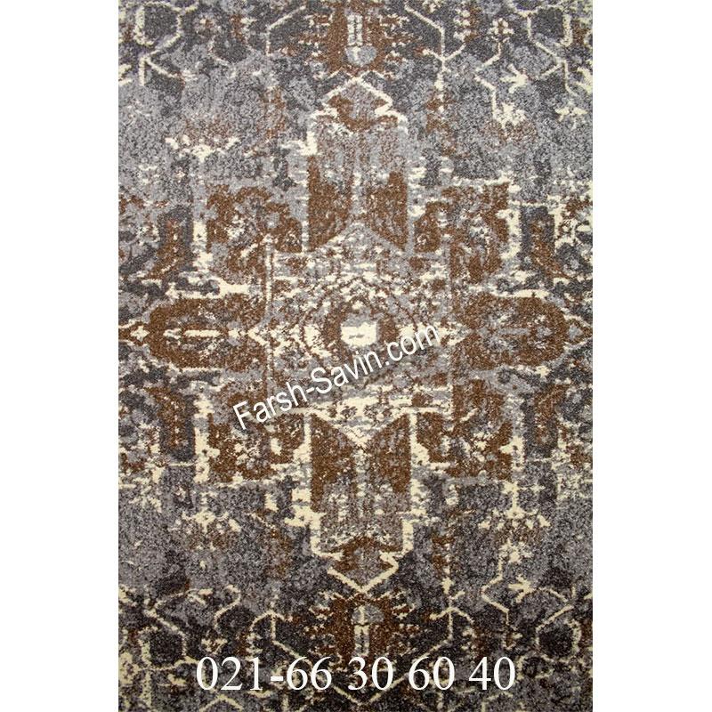 فرش ساوین 4082 نقره ای روشن فرش سنتی
