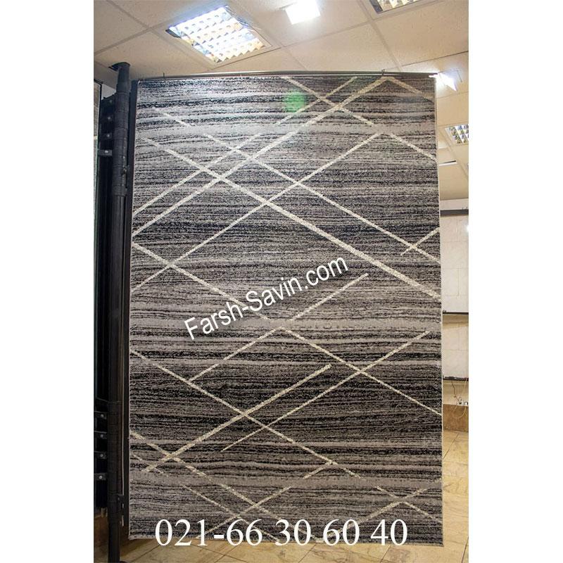فرش ساوین 4083 نقره ای روشن فرش ارزان