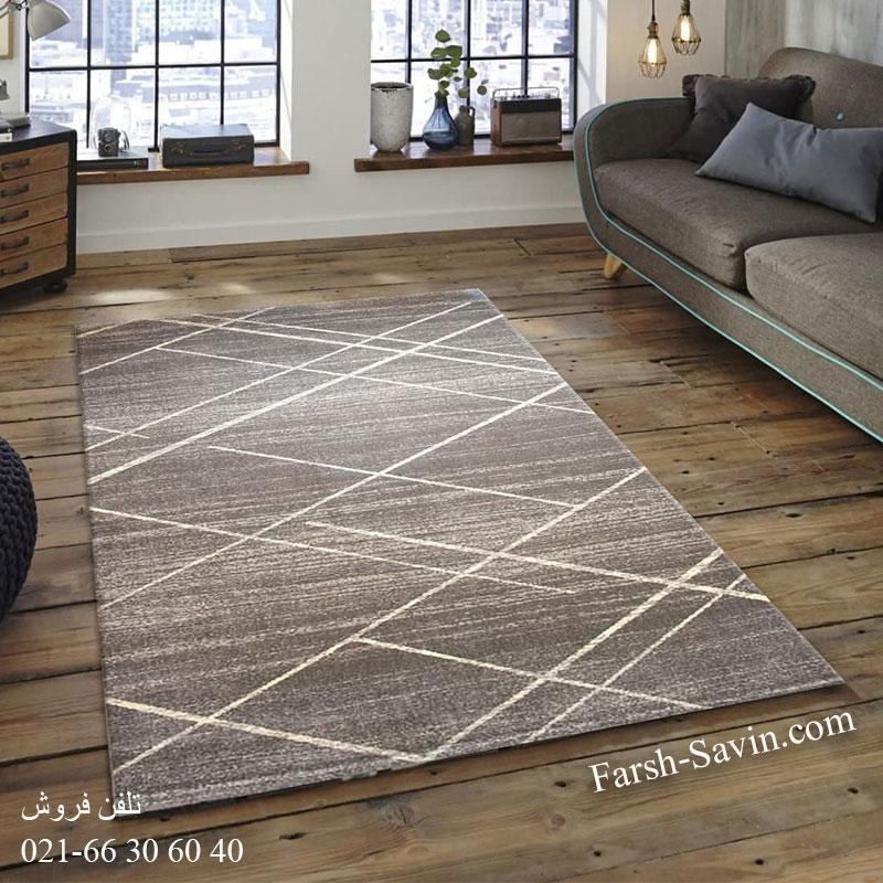 فرش ساوین 4083 طوسی فرش زیبا