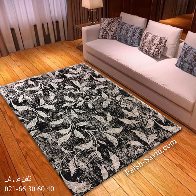 فرش ساوین 4089 مشکی فرش مرغوب