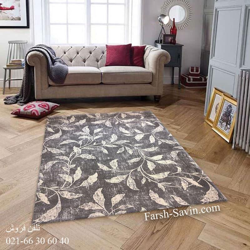 فرش ساوین 4090 طوسی فرش با دوام