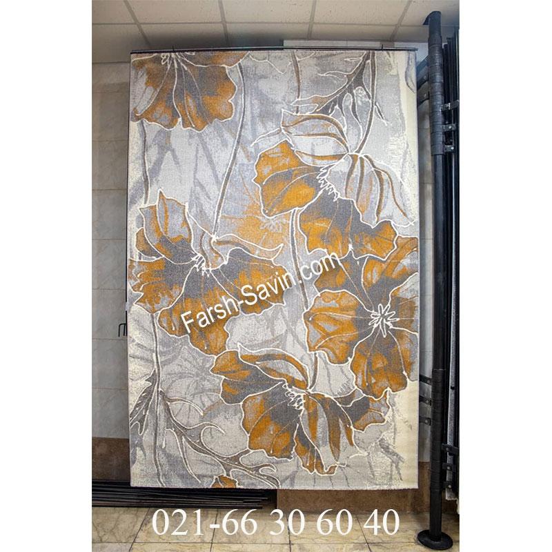فرش ساوین 4090 عسلی فرش لاکچری