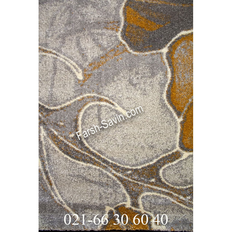 فرش ساوین 4090 عسلی فرش فانتزی