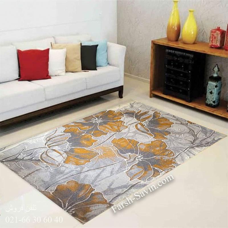 فرش ساوین 4090 عسلی فرش شیک