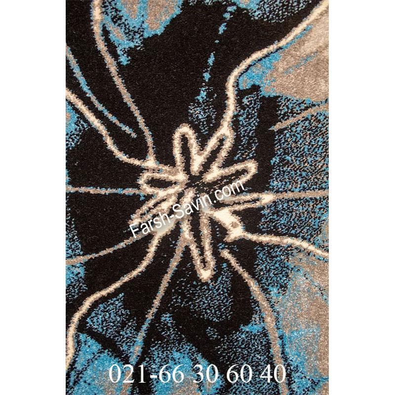 فرش ساوین 4090 آبی فرش روستایی