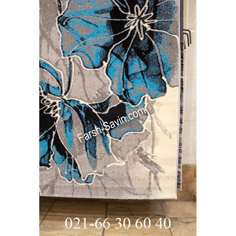 فرش ساوین 4090 آبی فرش ارزان
