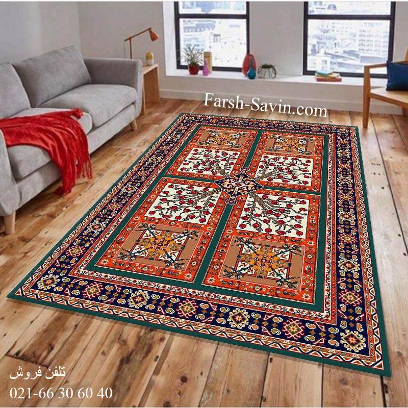 فرش ساوین باغ انار آبی فرش با کیفیت