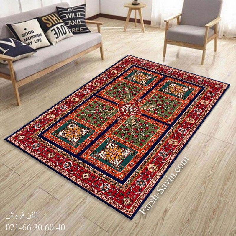 فرش ساوین باغ انار سرمه ای فرش سنتی