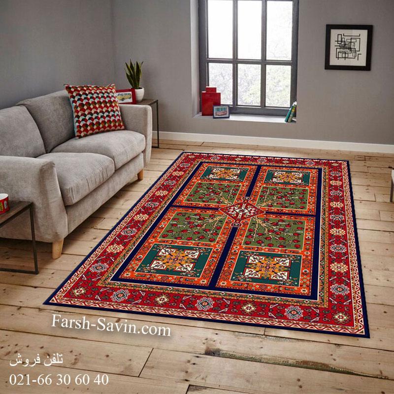 فرش ساوین باغ انار سرمه ای فرش با کیفیت