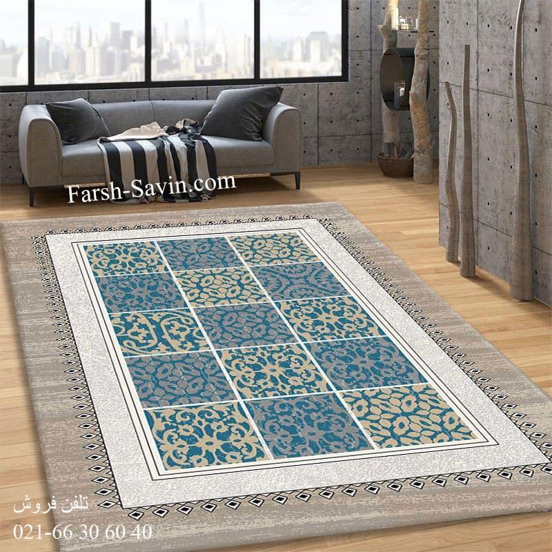 فرش ساوین آنتیک آبی فرش فانتزی