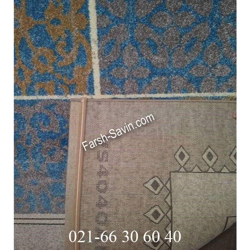 فرش ساوین آنتیک آبی فرش گبه