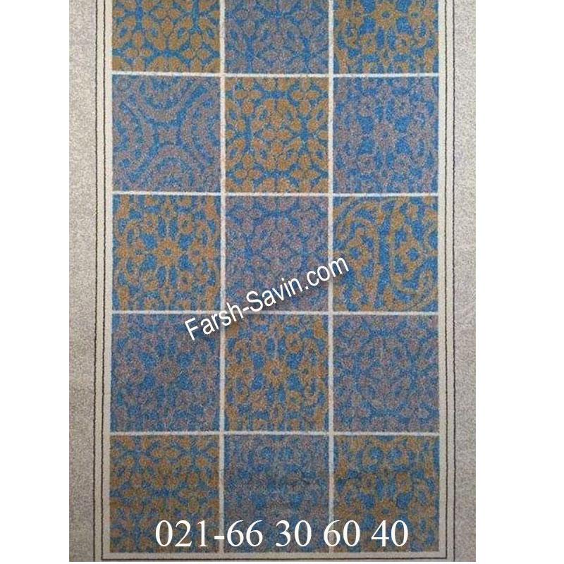 فرش ساوین آنتیک آبی فرش زیبا