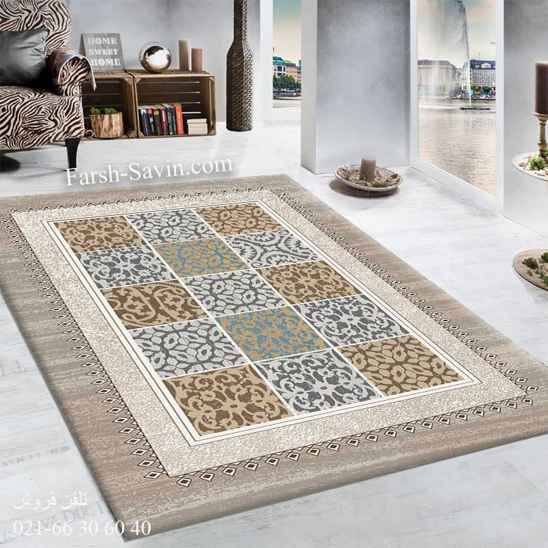 فرش ساوین آنتیک شکلاتی فرش پرفروش