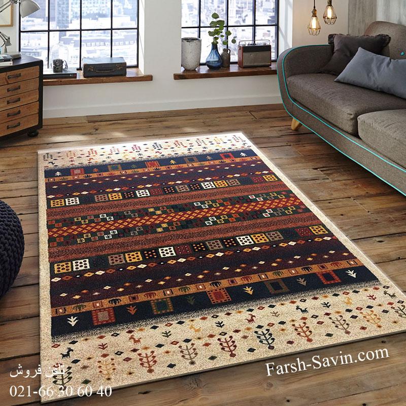 فرش ساوین زنبق کرم فرش مرغوب