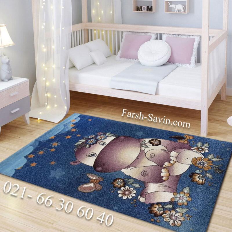 فرش ساوین 7280 زمینه آبی اتاق نوزاد