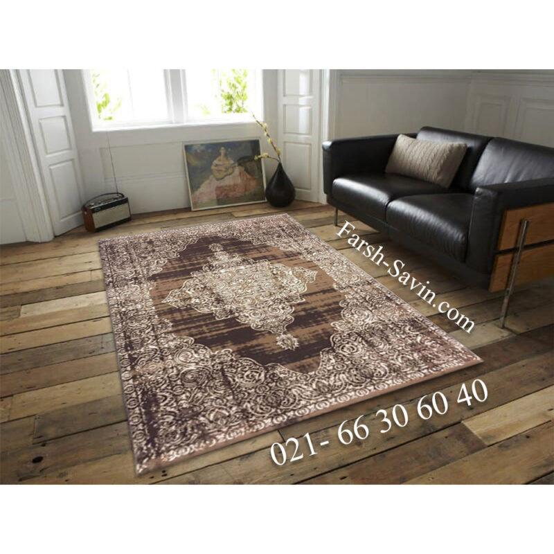 فرش ساوین 7701 شتری طرح کهنه نما