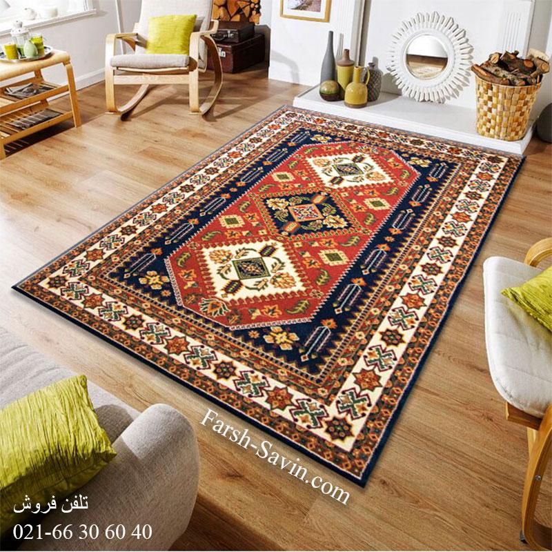 فرش ساوین آنیتا سرمه ای فرش سنتی