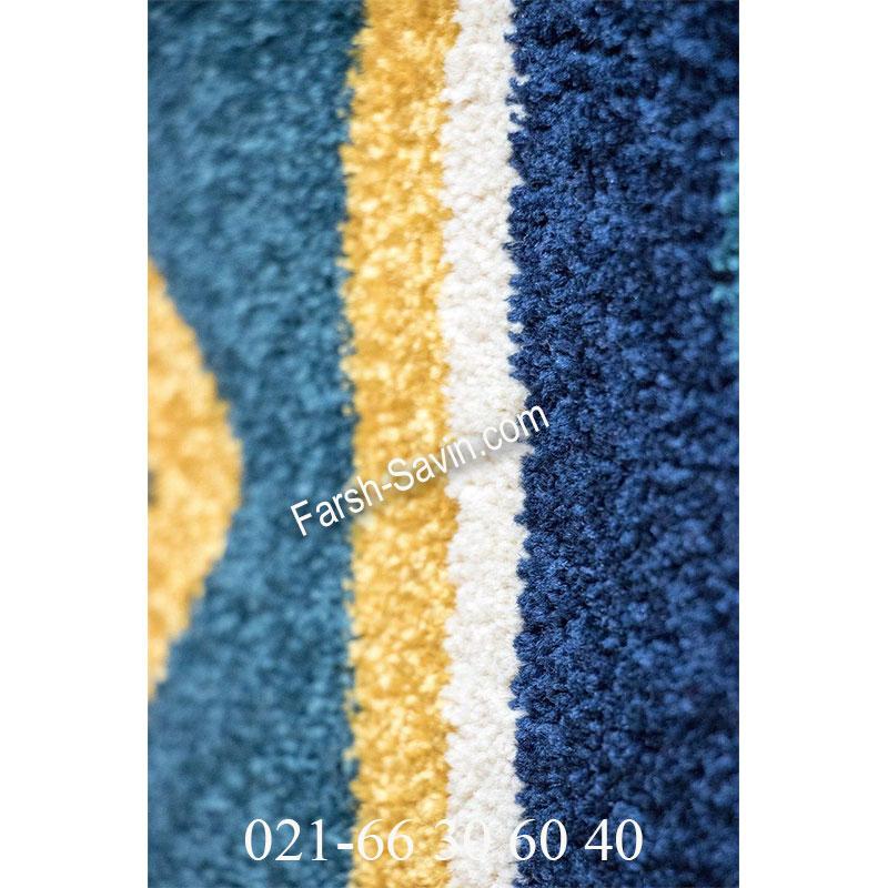 فرش ساوین پامچال سرمه ای فرش بی نظیر