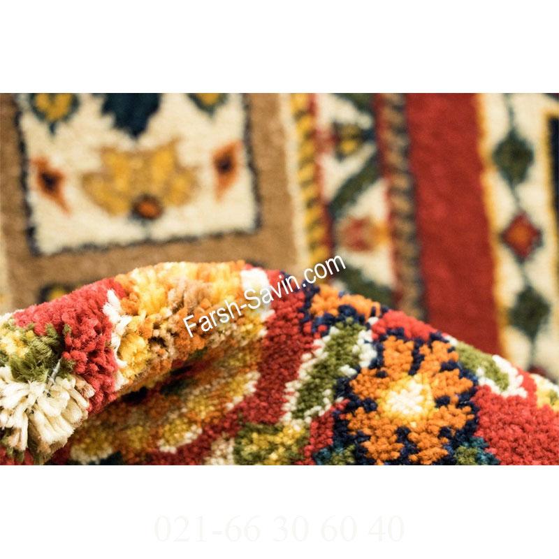 فرش ساوین باغی سرمه ای فرش اتاق پذیرایی