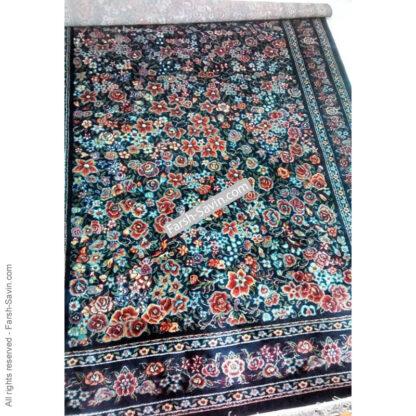 فرش ساوین گلشیفته سرمه ای اتاق پذیرایی
